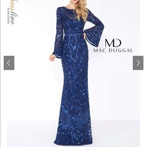 New Mac Duggal Long Fited Sequin Prom Formal Dress